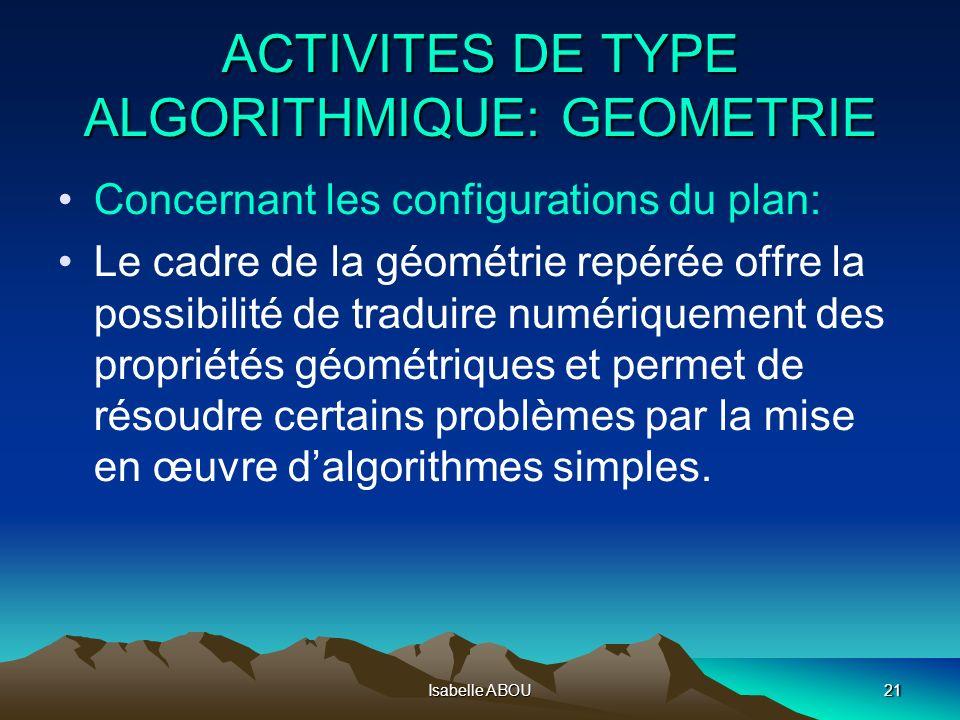 Isabelle ABOU21 ACTIVITES DE TYPE ALGORITHMIQUE: GEOMETRIE Concernant les configurations du plan: Le cadre de la géométrie repérée offre la possibilit