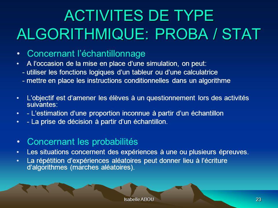 Isabelle ABOU23 ACTIVITES DE TYPE ALGORITHMIQUE: PROBA / STAT Concernant léchantillonnage A loccasion de la mise en place dune simulation, on peut: -