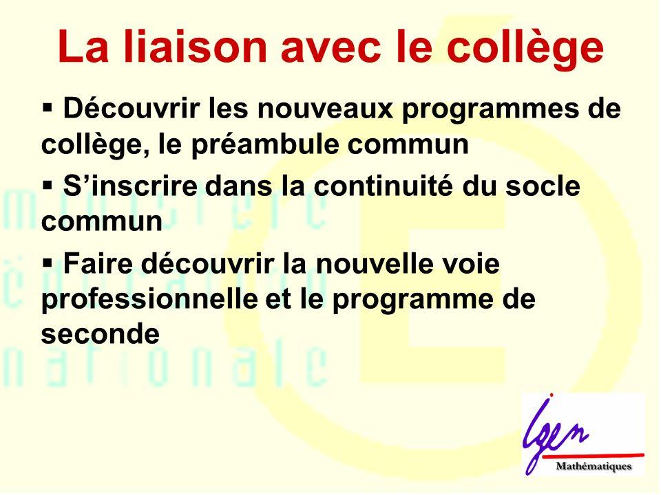 La liaison avec le collège Découvrir les nouveaux programmes de collège, le préambule commun Sinscrire dans la continuité du socle commun Faire découvrir la nouvelle voie professionnelle et le programme de seconde