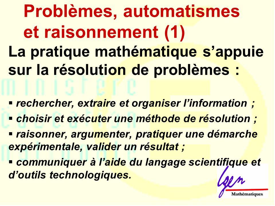 Problèmes, automatismes et raisonnement (2) Par leur mobilisation immédiate en mémoire de travail, les automatismes facilitent la prise dinitiative lors de raisonnements et des résolutions de problèmes.