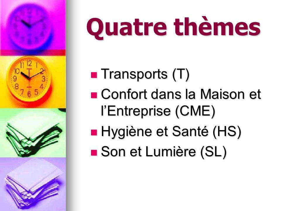 Quatre thèmes Transports (T) Transports (T) Confort dans la Maison et lEntreprise (CME) Confort dans la Maison et lEntreprise (CME) Hygiène et Santé (