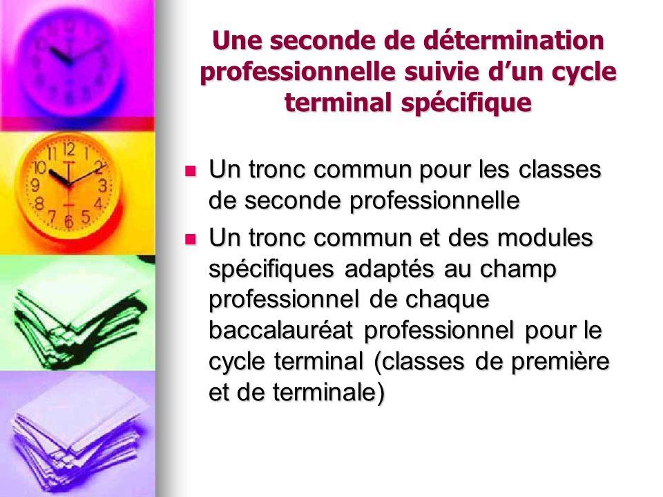 Une seconde de détermination professionnelle suivie dun cycle terminal spécifique Un tronc commun pour les classes de seconde professionnelle Un tronc