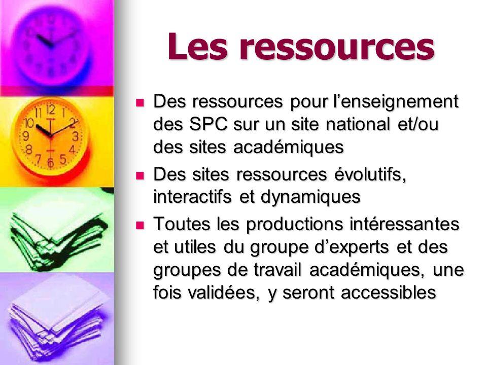 Les ressources Des ressources pour lenseignement des SPC sur un site national et/ou des sites académiques Des ressources pour lenseignement des SPC su
