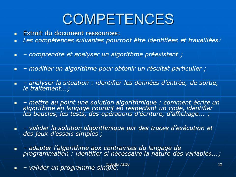 Isabelle ABOU 12 COMPETENCES Extrait du document ressources: Extrait du document ressources: Les compétences suivantes pourront être identifiées et tr