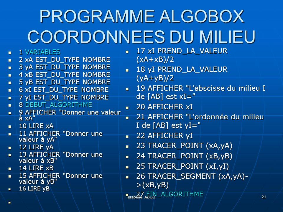 Isabelle ABOU 21 PROGRAMME ALGOBOX COORDONNEES DU MILIEU 1 VARIABLES 1 VARIABLES 2 xA EST_DU_TYPE NOMBRE 2 xA EST_DU_TYPE NOMBRE 3 yA EST_DU_TYPE NOMB