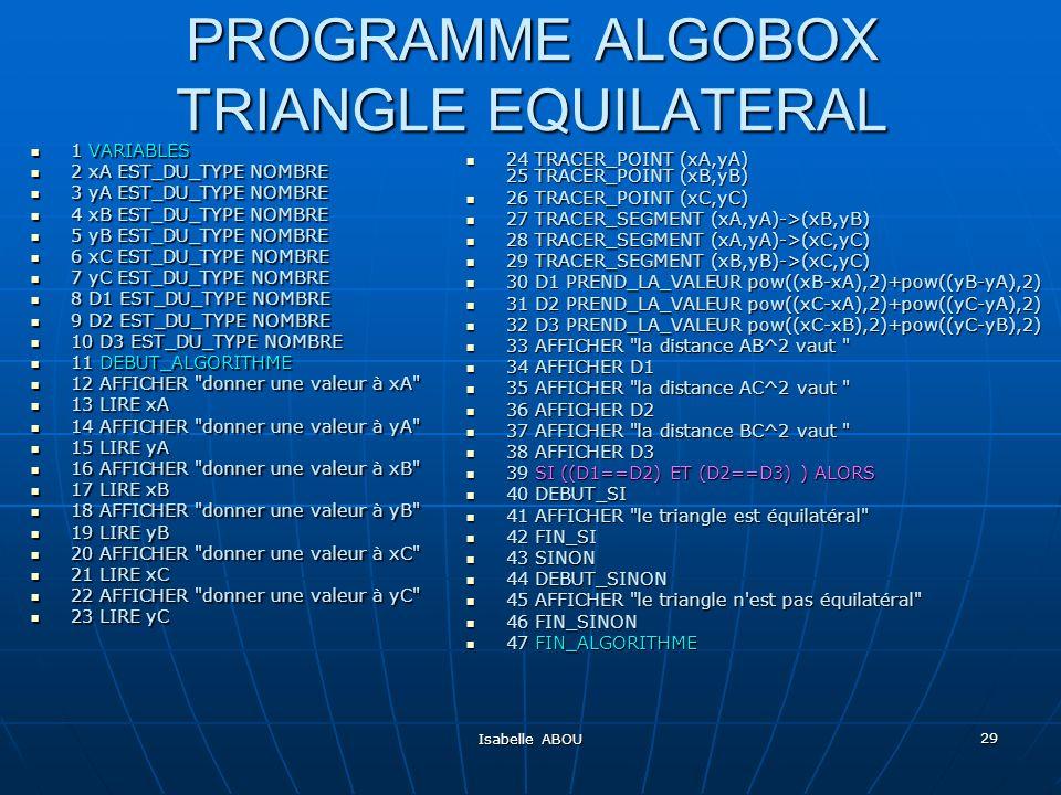 Isabelle ABOU 29 PROGRAMME ALGOBOX TRIANGLE EQUILATERAL 1 VARIABLES 1 VARIABLES 2 xA EST_DU_TYPE NOMBRE 2 xA EST_DU_TYPE NOMBRE 3 yA EST_DU_TYPE NOMBR