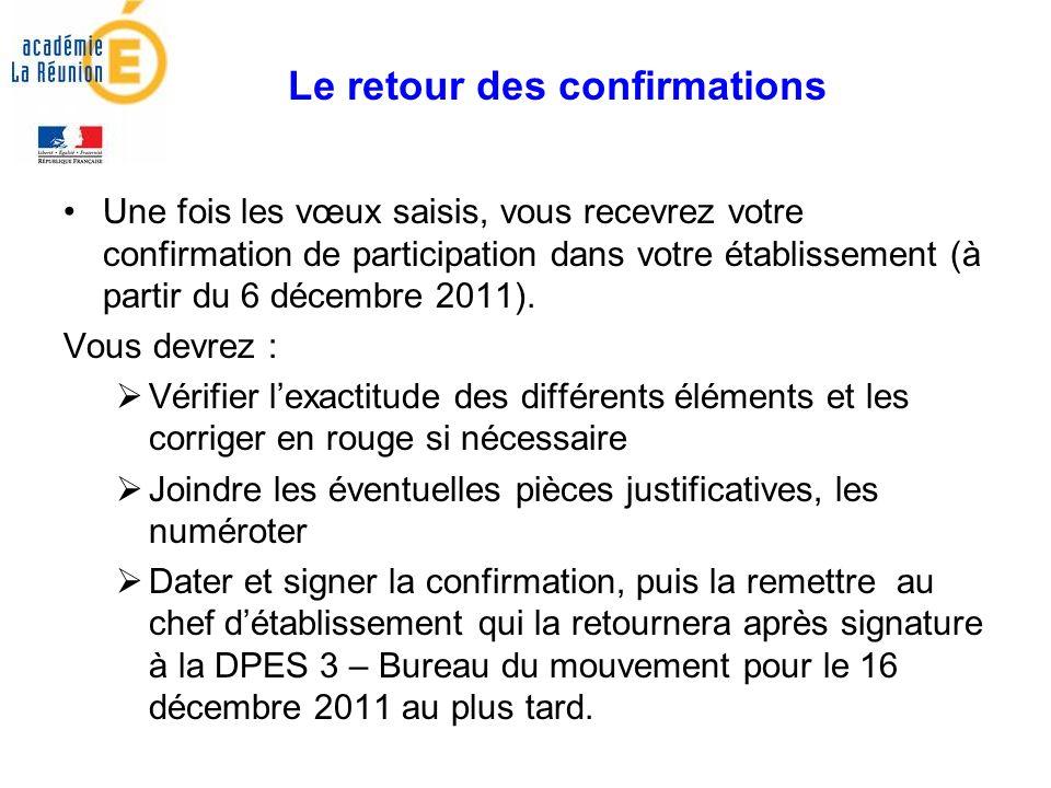 Une fois les vœux saisis, vous recevrez votre confirmation de participation dans votre établissement (à partir du 6 décembre 2011).