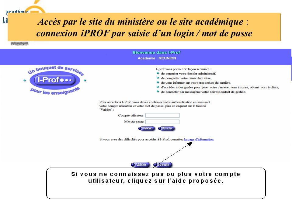 Accès par le site du ministère ou le site académique : connexion iPROF par saisie dun login / mot de passe
