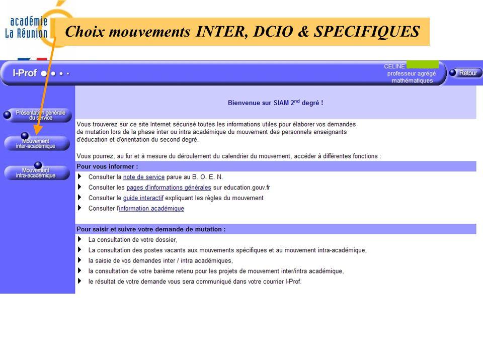 Choix mouvements INTER, DCIO & SPECIFIQUES