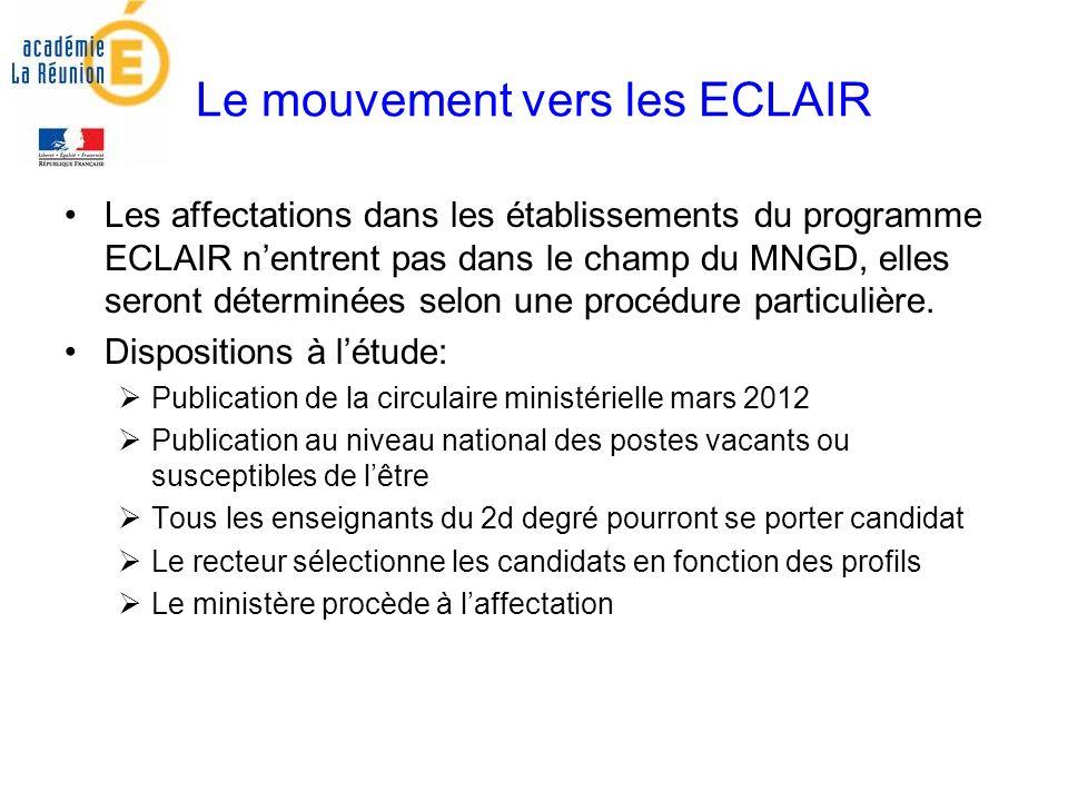 Le mouvement vers les ECLAIR Les affectations dans les établissements du programme ECLAIR nentrent pas dans le champ du MNGD, elles seront déterminées selon une procédure particulière.