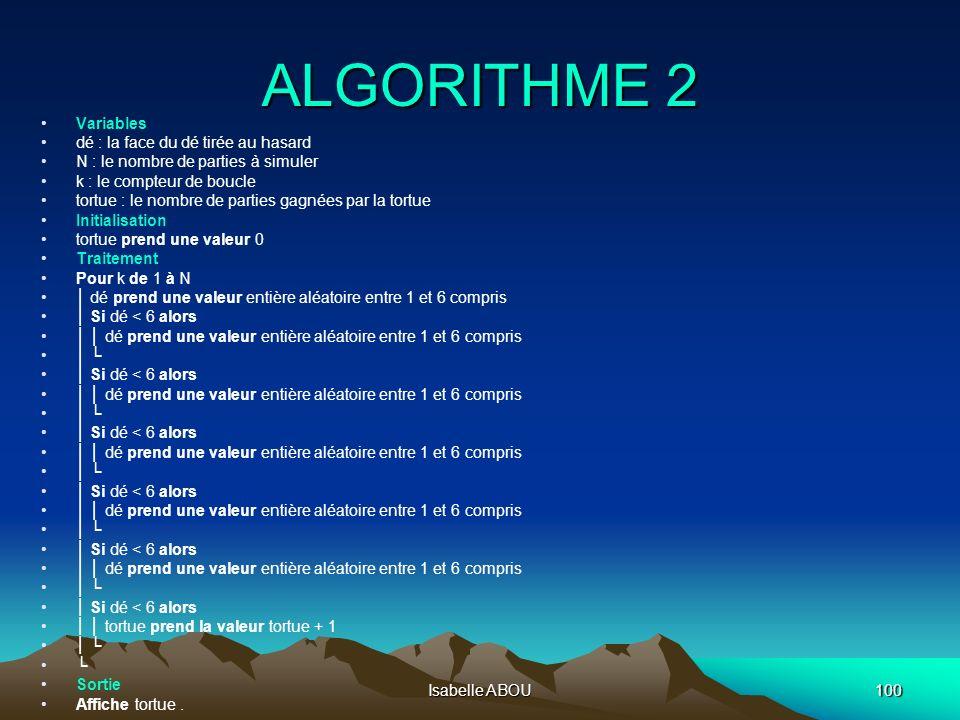 Isabelle ABOU100 ALGORITHME 2 Variables dé : la face du dé tirée au hasard N : le nombre de parties à simuler k : le compteur de boucle tortue : le no
