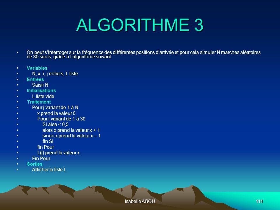 Isabelle ABOU111 ALGORITHME 3 On peut sinterroger sur la fréquence des différentes positions darrivée et pour cela simuler N marches aléatoires de 30