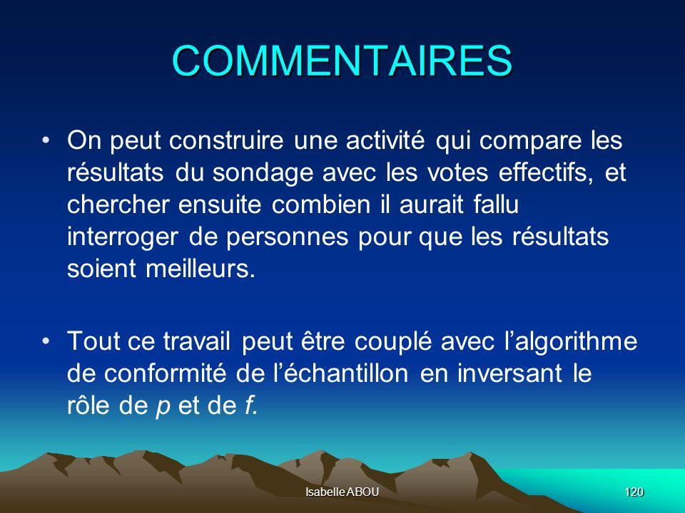 Isabelle ABOU120 COMMENTAIRES On peut construire une activité qui compare les résultats du sondage avec les votes effectifs, et chercher ensuite combi