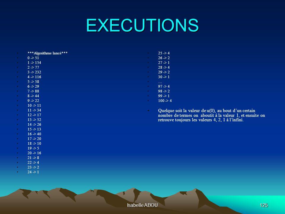 Isabelle ABOU125 EXECUTIONS ***Algorithme lancé*** 0 -> 51 1 -> 154 2 -> 77 3 -> 232 4 -> 116 5 -> 58 6 -> 29 7 -> 88 8 -> 44 9 -> 22 10 -> 11 11 -> 3