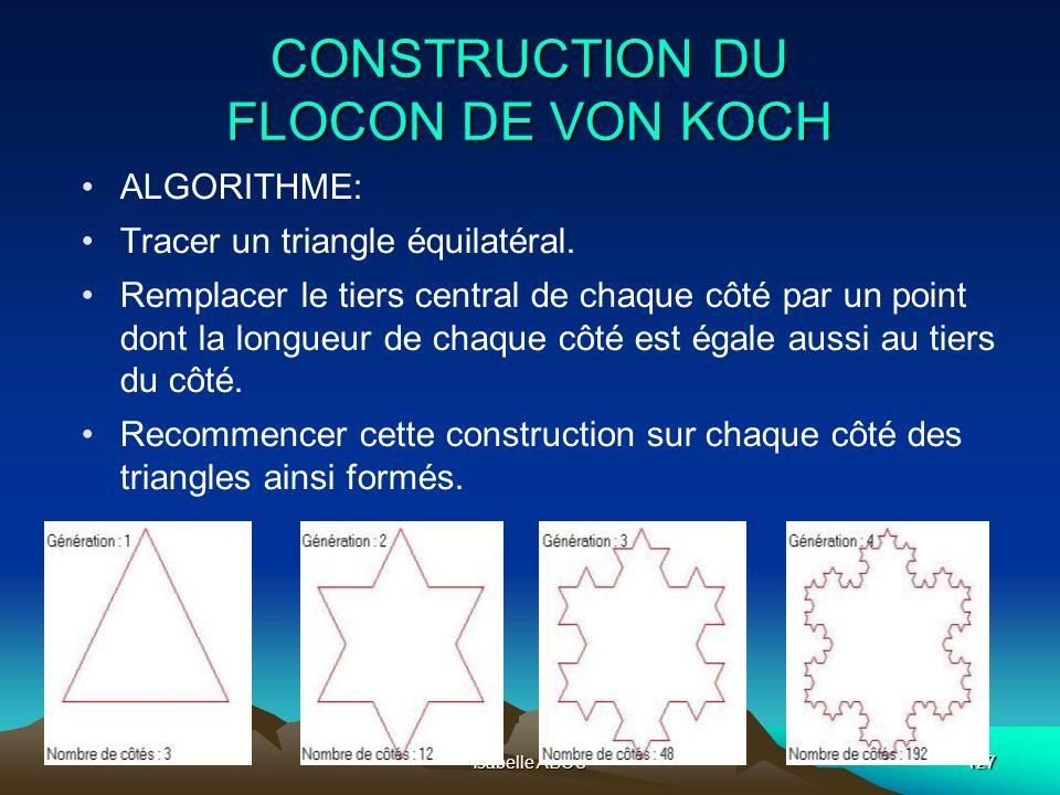 Isabelle ABOU127 CONSTRUCTION DU FLOCON DE VON KOCH ALGORITHME: Tracer un triangle équilatéral. Remplacer le tiers central de chaque côté par un point