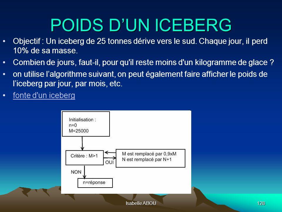 Isabelle ABOU128 POIDS DUN ICEBERG Objectif : Un iceberg de 25 tonnes dérive vers le sud. Chaque jour, il perd 10% de sa masse. Combien de jours, faut