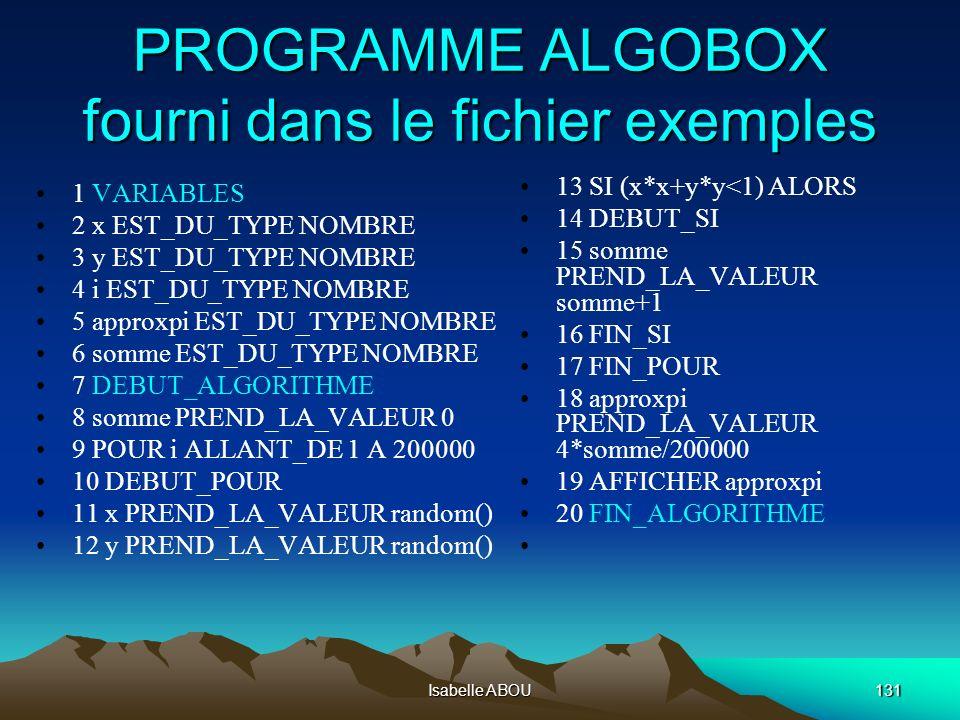 Isabelle ABOU131 PROGRAMME ALGOBOX fourni dans le fichier exemples 1 VARIABLES 2 x EST_DU_TYPE NOMBRE 3 y EST_DU_TYPE NOMBRE 4 i EST_DU_TYPE NOMBRE 5