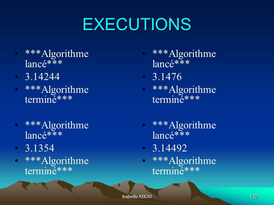 Isabelle ABOU132 EXECUTIONS ***Algorithme lancé*** 3.14244 ***Algorithme terminé*** ***Algorithme lancé*** 3.1354 ***Algorithme terminé*** ***Algorith