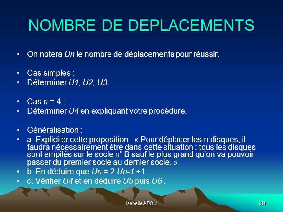 Isabelle ABOU134 NOMBRE DE DEPLACEMENTS On notera Un le nombre de déplacements pour réussir. Cas simples : Déterminer U1, U2, U3. Cas n = 4 : Détermin