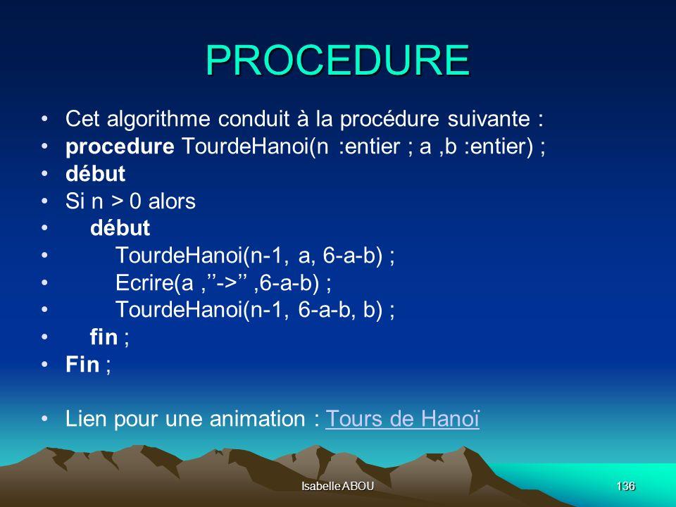 Isabelle ABOU136 PROCEDURE Cet algorithme conduit à la procédure suivante : procedure TourdeHanoi(n :entier ; a,b :entier) ; début Si n > 0 alors débu