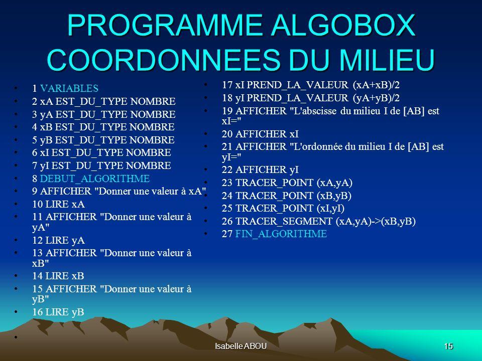 Isabelle ABOU15 PROGRAMME ALGOBOX COORDONNEES DU MILIEU 1 VARIABLES 2 xA EST_DU_TYPE NOMBRE 3 yA EST_DU_TYPE NOMBRE 4 xB EST_DU_TYPE NOMBRE 5 yB EST_D