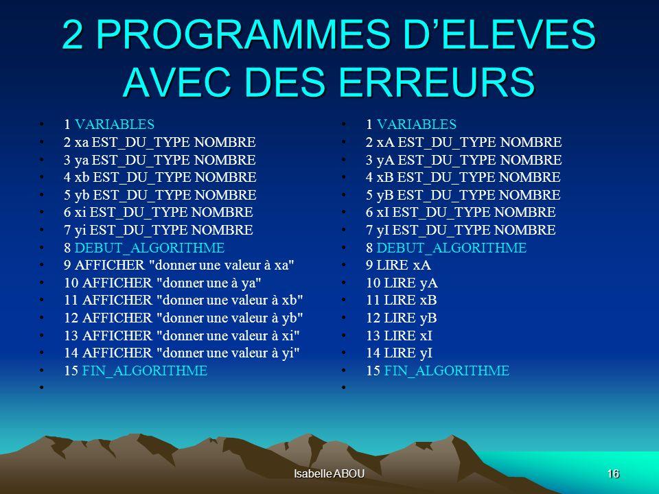 Isabelle ABOU16 2 PROGRAMMES DELEVES AVEC DES ERREURS 1 VARIABLES 2 xa EST_DU_TYPE NOMBRE 3 ya EST_DU_TYPE NOMBRE 4 xb EST_DU_TYPE NOMBRE 5 yb EST_DU_