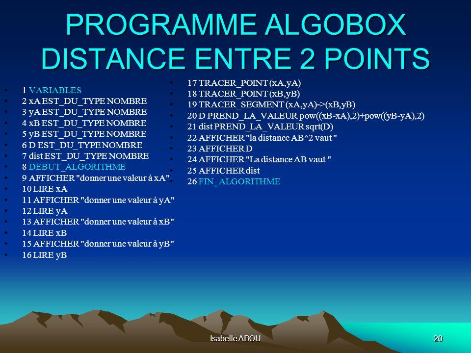 Isabelle ABOU20 PROGRAMME ALGOBOX DISTANCE ENTRE 2 POINTS 1 VARIABLES 2 xA EST_DU_TYPE NOMBRE 3 yA EST_DU_TYPE NOMBRE 4 xB EST_DU_TYPE NOMBRE 5 yB EST