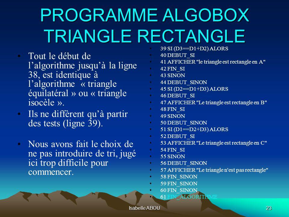 Isabelle ABOU23 PROGRAMME ALGOBOX TRIANGLE RECTANGLE Tout le début de lalgorithme jusquà la ligne 38, est identique à lalgorithme « triangle équilatér
