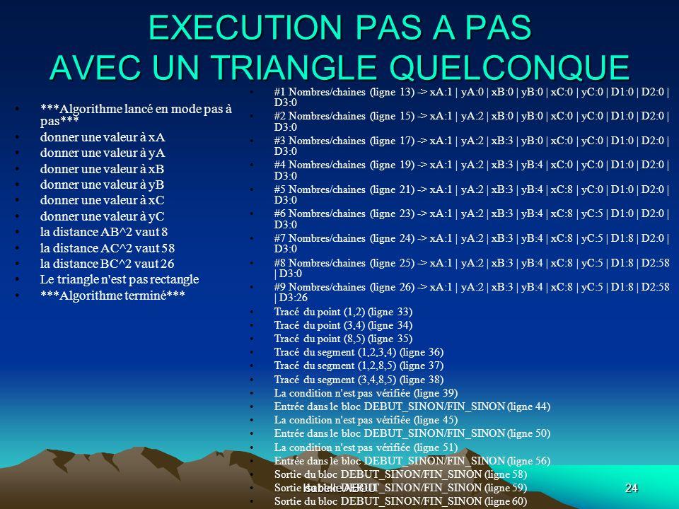 Isabelle ABOU24 EXECUTION PAS A PAS AVEC UN TRIANGLE QUELCONQUE #1 Nombres/chaines (ligne 13) -> xA:1 | yA:0 | xB:0 | yB:0 | xC:0 | yC:0 | D1:0 | D2:0