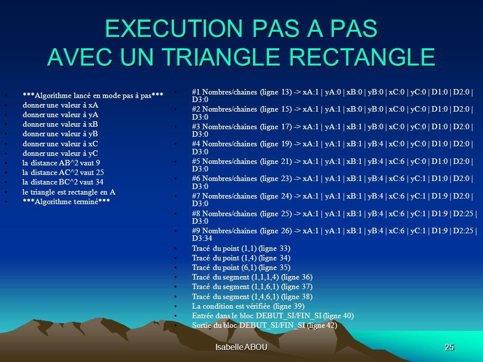 Isabelle ABOU25 EXECUTION PAS A PAS AVEC UN TRIANGLE RECTANGLE #1 Nombres/chaines (ligne 13) -> xA:1 | yA:0 | xB:0 | yB:0 | xC:0 | yC:0 | D1:0 | D2:0