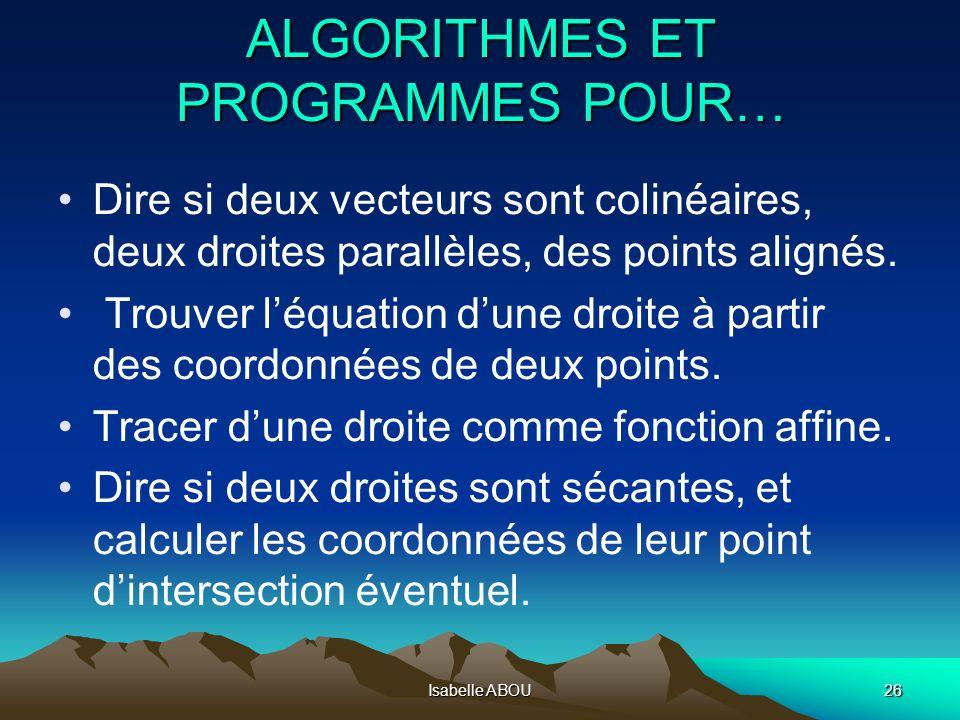 Isabelle ABOU26 ALGORITHMES ET PROGRAMMES POUR… Dire si deux vecteurs sont colinéaires, deux droites parallèles, des points alignés. Trouver léquation