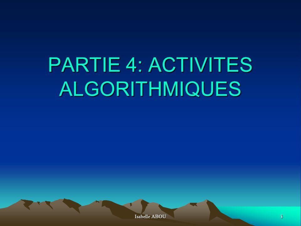 Isabelle ABOU124 PROGRAMME ALGOBOX fourni dans le fichier exemples 1 VARIABLES 2 n EST_DU_TYPE NOMBRE 3 u EST_DU_TYPE NOMBRE 4 i EST_DU_TYPE NOMBRE 5 DEBUT_ALGORITHME 6 LIRE n 7 u PREND_LA_VALEUR n 8 AFFICHER 0 -> 9 AFFICHER u 10 POUR i ALLANT_DE 1 A 100 11 DEBUT_POUR 12 SI (u%2==0) ALORS 13 DEBUT_SI 14 u PREND_LA_VALEUR u/2 15 FIN_SI 16 SINON 17 DEBUT_SINON 18 u PREND_LA_VALEUR 3*u+1 19 FIN_SINON 20 AFFICHER i 21 AFFICHER -> 22 AFFICHER u 23 FIN_POUR 24 FIN_ALGORITHME