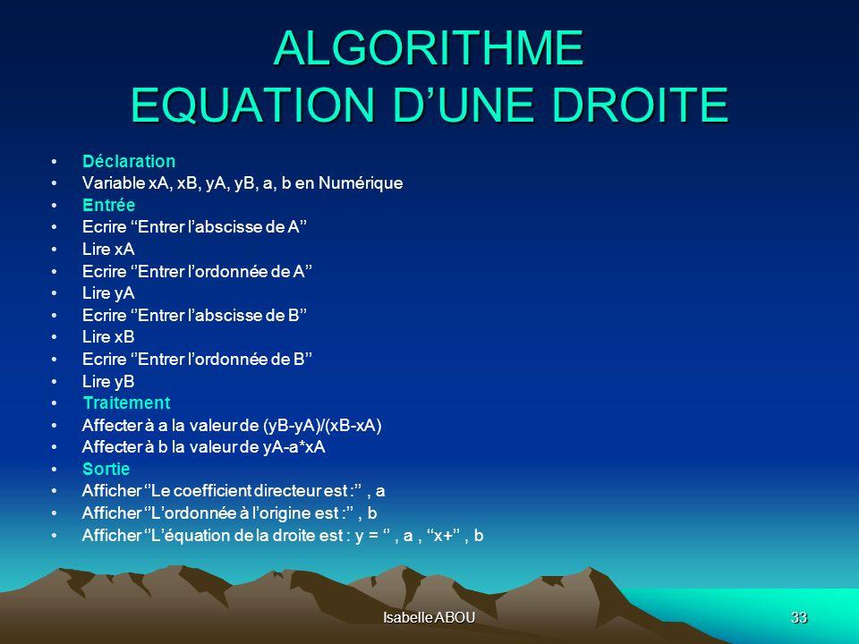 Isabelle ABOU33 ALGORITHME EQUATION DUNE DROITE Déclaration Variable xA, xB, yA, yB, a, b en Numérique Entrée Ecrire Entrer labscisse de A Lire xA Ecr