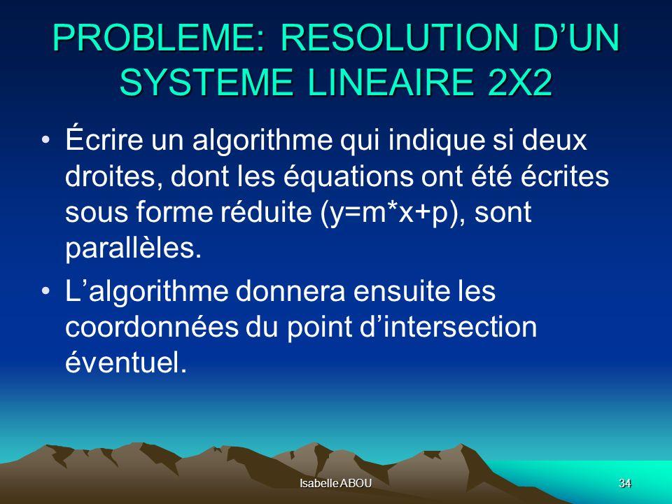 Isabelle ABOU34 PROBLEME: RESOLUTION DUN SYSTEME LINEAIRE 2X2 Écrire un algorithme qui indique si deux droites, dont les équations ont été écrites sou