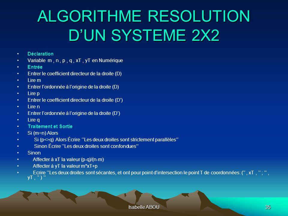 Isabelle ABOU35 ALGORITHME RESOLUTION DUN SYSTEME 2X2 Déclaration Variable m, n, p, q, xT, yT en Numérique Entrée Entrer le coefficient directeur de l