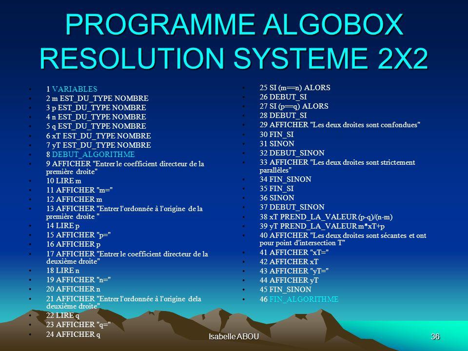 Isabelle ABOU36 PROGRAMME ALGOBOX RESOLUTION SYSTEME 2X2 1 VARIABLES 2 m EST_DU_TYPE NOMBRE 3 p EST_DU_TYPE NOMBRE 4 n EST_DU_TYPE NOMBRE 5 q EST_DU_T