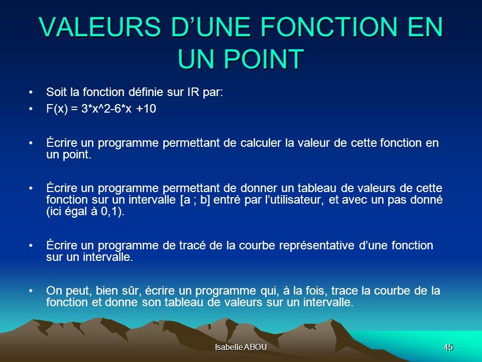 Isabelle ABOU45 VALEURS DUNE FONCTION EN UN POINT Soit la fonction définie sur IR par: F(x) = 3*x^2-6*x +10 Écrire un programme permettant de calculer