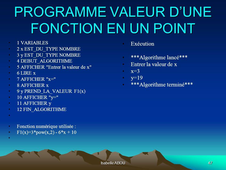 Isabelle ABOU47 PROGRAMME VALEUR DUNE FONCTION EN UN POINT 1 VARIABLES 2 x EST_DU_TYPE NOMBRE 3 y EST_DU_TYPE NOMBRE 4 DEBUT_ALGORITHME 5 AFFICHER