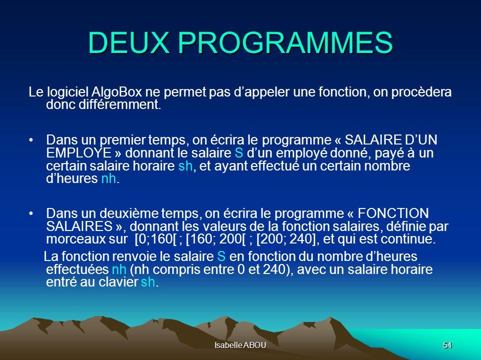 Isabelle ABOU54 DEUX PROGRAMMES Le logiciel AlgoBox ne permet pas dappeler une fonction, on procèdera donc différemment. Dans un premier temps, on écr