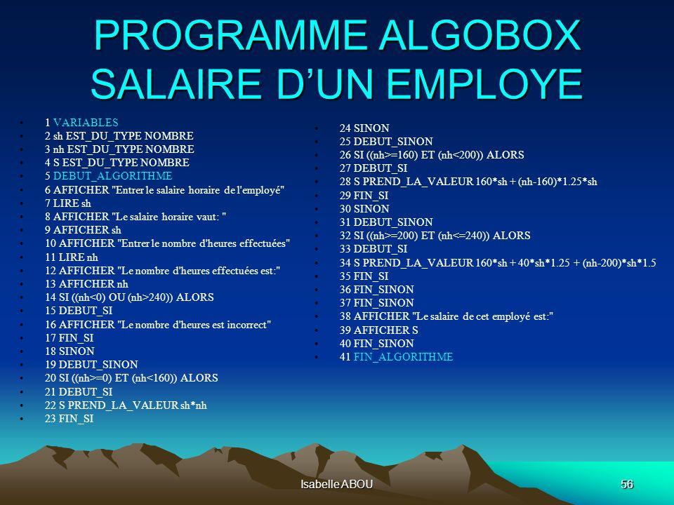 Isabelle ABOU56 PROGRAMME ALGOBOX SALAIRE DUN EMPLOYE PROGRAMME ALGOBOX SALAIRE DUN EMPLOYE 1 VARIABLES 2 sh EST_DU_TYPE NOMBRE 3 nh EST_DU_TYPE NOMBR