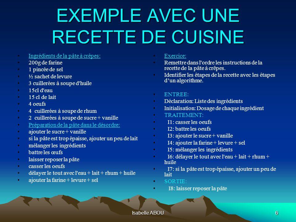Isabelle ABOU6 EXEMPLE AVEC UNE RECETTE DE CUISINE Ingrédients de la pâte à crêpes: 200g de farine 1 pincée de sel ½ sachet de levure 3 cuillerées à s