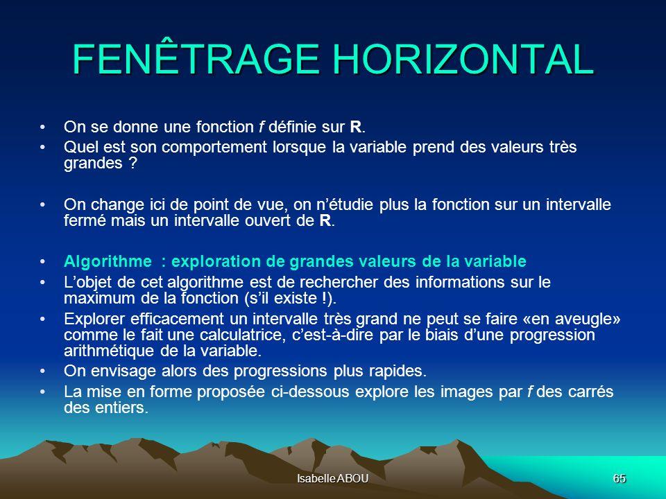 Isabelle ABOU65 FENÊTRAGE HORIZONTAL On se donne une fonction f définie sur R. Quel est son comportement lorsque la variable prend des valeurs très gr