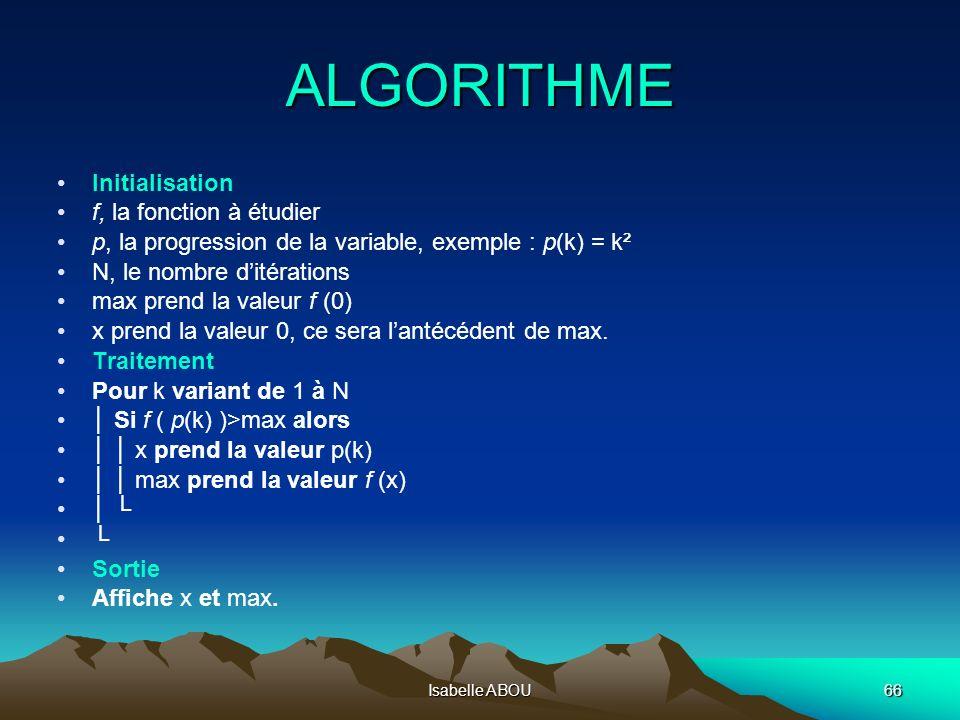 Isabelle ABOU66 ALGORITHME Initialisation f, la fonction à étudier p, la progression de la variable, exemple : p(k) = k² N, le nombre ditérations max