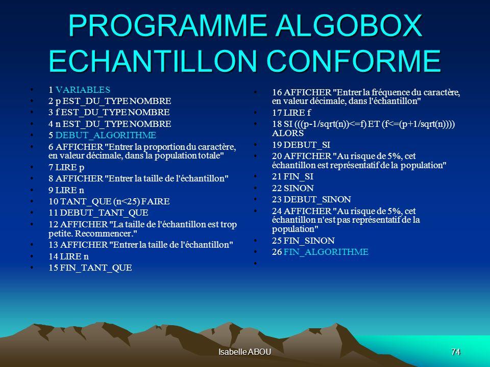 Isabelle ABOU74 PROGRAMME ALGOBOX ECHANTILLON CONFORME 1 VARIABLES 2 p EST_DU_TYPE NOMBRE 3 f EST_DU_TYPE NOMBRE 4 n EST_DU_TYPE NOMBRE 5 DEBUT_ALGORI