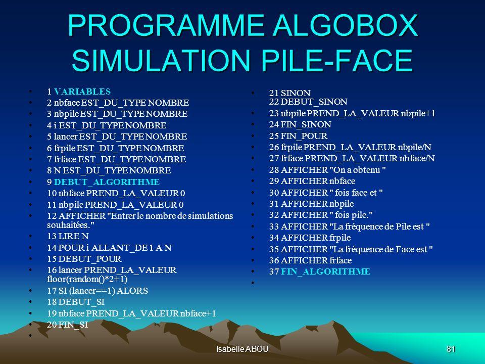 Isabelle ABOU81 PROGRAMME ALGOBOX SIMULATION PILE-FACE 1 VARIABLES 2 nbface EST_DU_TYPE NOMBRE 3 nbpile EST_DU_TYPE NOMBRE 4 i EST_DU_TYPE NOMBRE 5 la