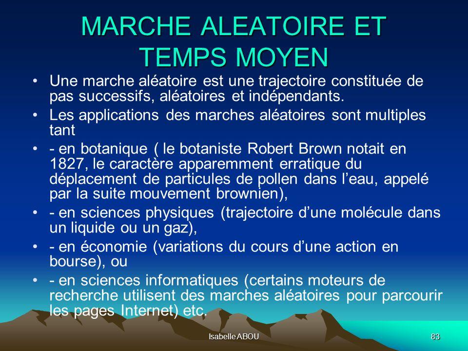 Isabelle ABOU83 MARCHE ALEATOIRE ET TEMPS MOYEN Une marche aléatoire est une trajectoire constituée de pas successifs, aléatoires et indépendants. Les