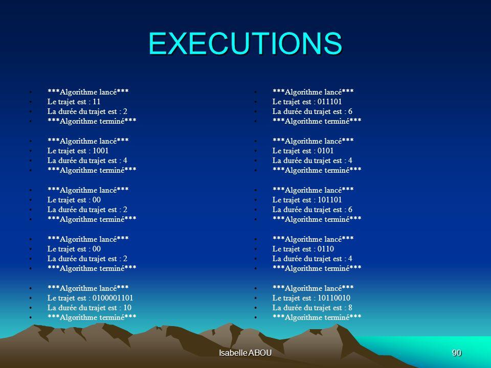 Isabelle ABOU90 EXECUTIONS ***Algorithme lancé*** Le trajet est : 11 La durée du trajet est : 2 ***Algorithme terminé*** ***Algorithme lancé*** Le tra