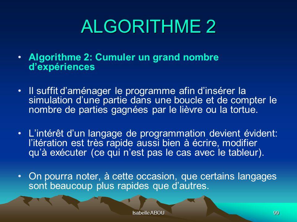 Isabelle ABOU99 ALGORITHME 2 Algorithme 2: Cumuler un grand nombre dexpériences Il suffit daménager le programme afin dinsérer la simulation dune part
