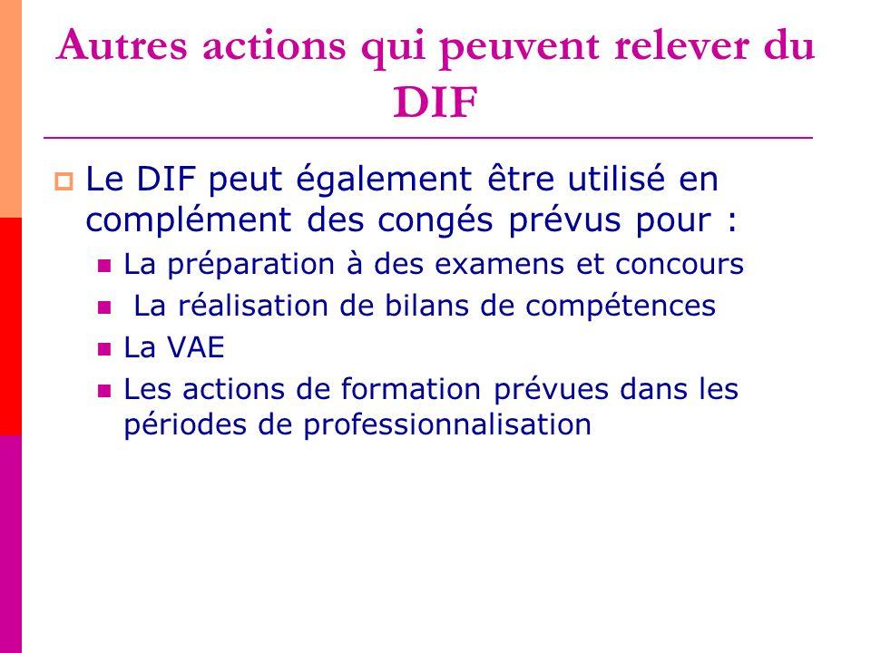 Autres actions qui peuvent relever du DIF Le DIF peut également être utilisé en complément des congés prévus pour : La préparation à des examens et co