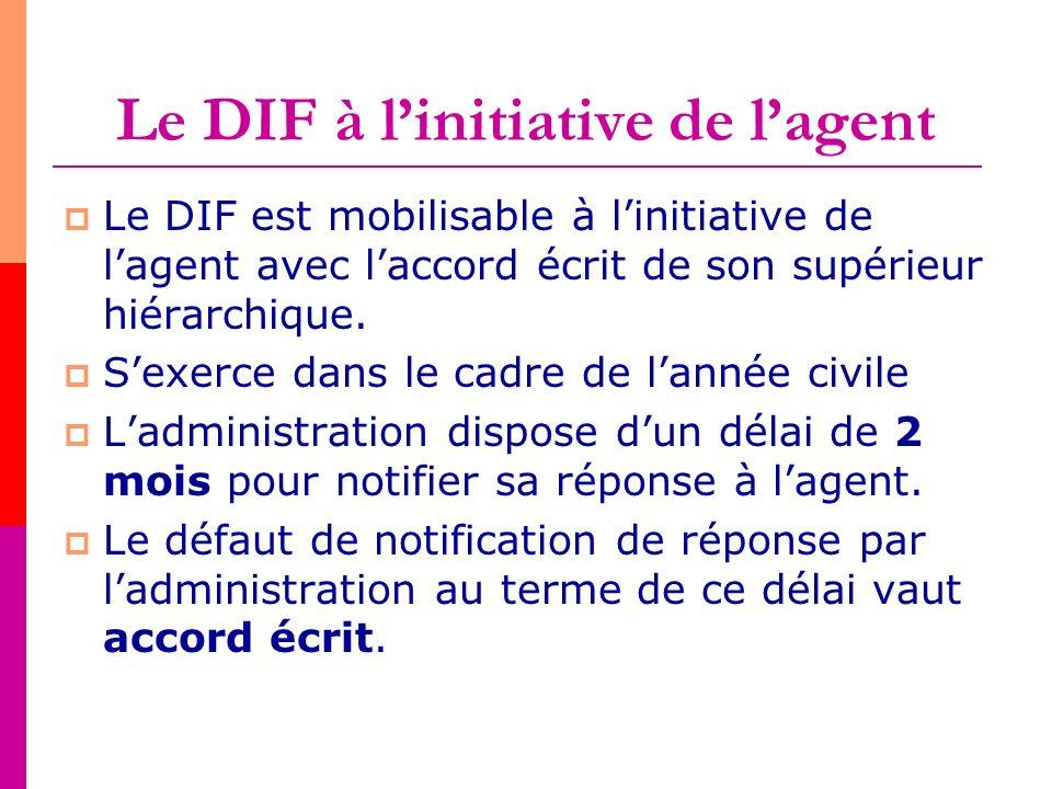 Le DIF à linitiative de lagent Le DIF est mobilisable à linitiative de lagent avec laccord écrit de son supérieur hiérarchique. Sexerce dans le cadre